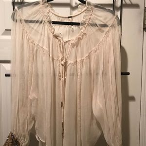 ⚜️Free People Sheer Blouse withSequin Cuffs⚜️